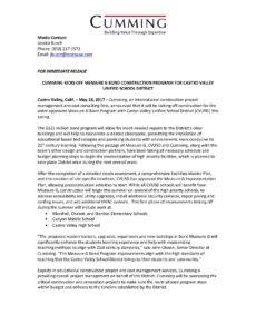 Press Release - Cumming Kicks Off Measure G Bond Construction Program for Castro Valley Unified School District