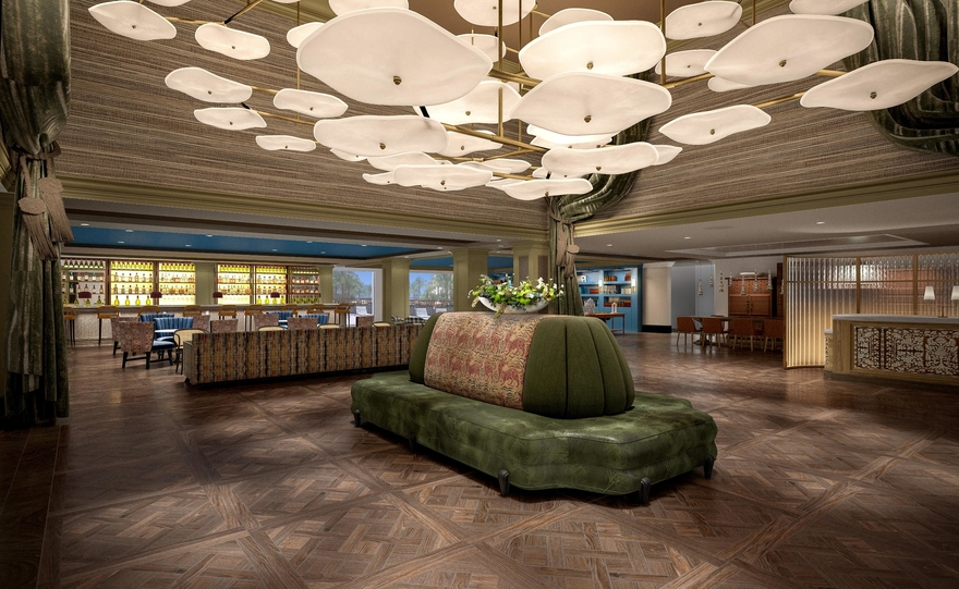 A rendering of the Burgess Hotel's lobby. Photo credit: Highgate Hotels