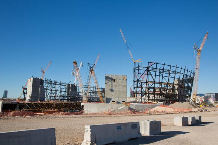 The under-construction Raiders stadium in Las Vegas is shown Thursday, Feb. 28, 2019. Christopher Devargas.